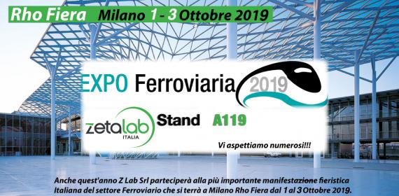 Z Lab parteciperà ad EXPO FERROVIARIA 2019! Fiera Milano Rho 1-3 Ottobre Stand A119